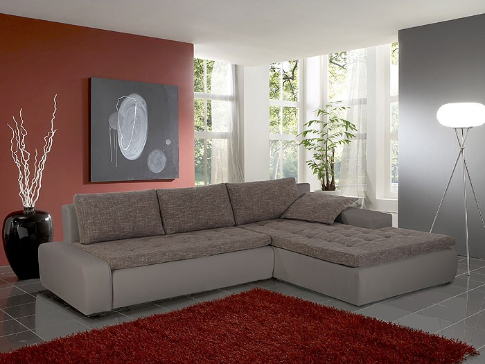 Ecksofa Alisa, 300x210cm, Webstoff braun-beige Kunstleder ...